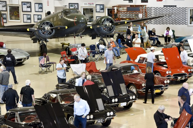 Corvettes share the hangers with airplanes at the 2016 Regional Judging Meet of the National Corvette Restorers Society at the Canadian Warplane Heritage Museum. John Rennison The Hamilton Spectator 9/24/16